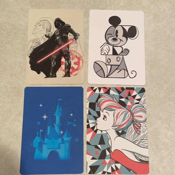 Disney set of four post cards new